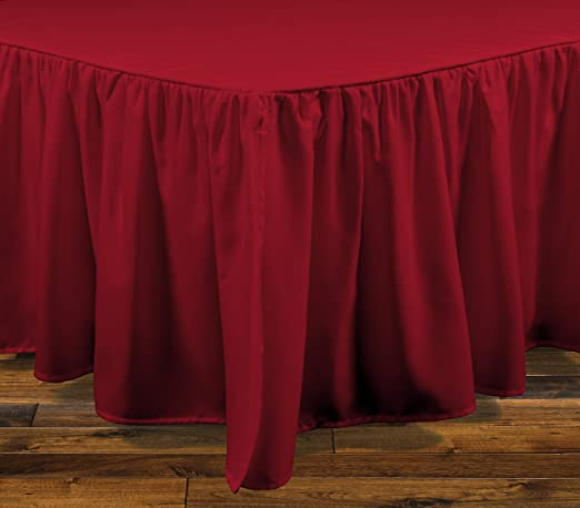 """Red Solid Silky Satin Bed Skirt Queen Size Dust Ruffle Bedding 14/"""" Drop WOW!"""
