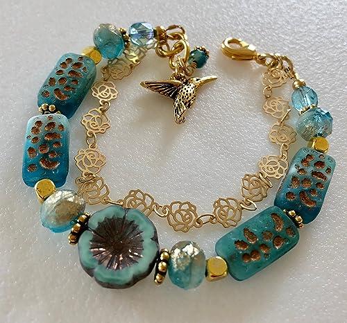 Handmade Bronze /& Turquoise Czech Glass Necklace