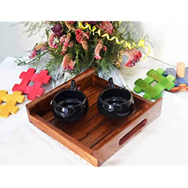 Patio Serving Tray – Wood Tray India –Patio Trays with Handles – Rosewood Dish Set – Sheesham Wood Coffee Table Set – Stylish Serving Tray Set – Multiple Sizes Available – Indian Rosewood Buffet