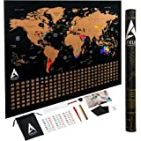 "Scratch off Map of the World XL Poster - US States outlined - Extra Large size 33""x24"", Deluxe packaging and 11 Accessories, Personalized World Travel Map with Country Flags as a perfect gift"
