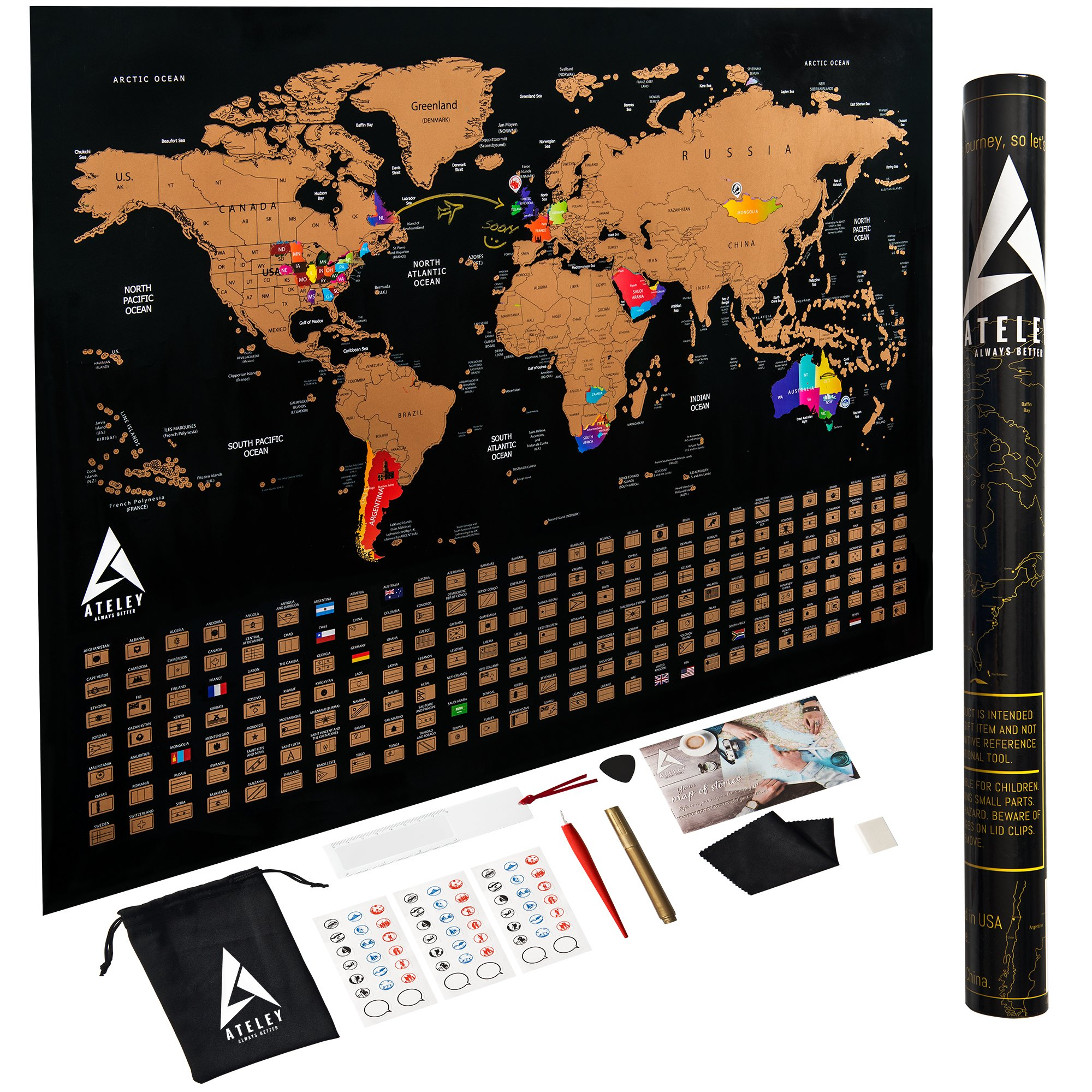 Scratch off Map of the World XL Poster - US States outlined - Extra Large size 33''x24'', Deluxe packaging and 11 Accessories, Personalized World Travel Map with Country Flags as a perfect gift