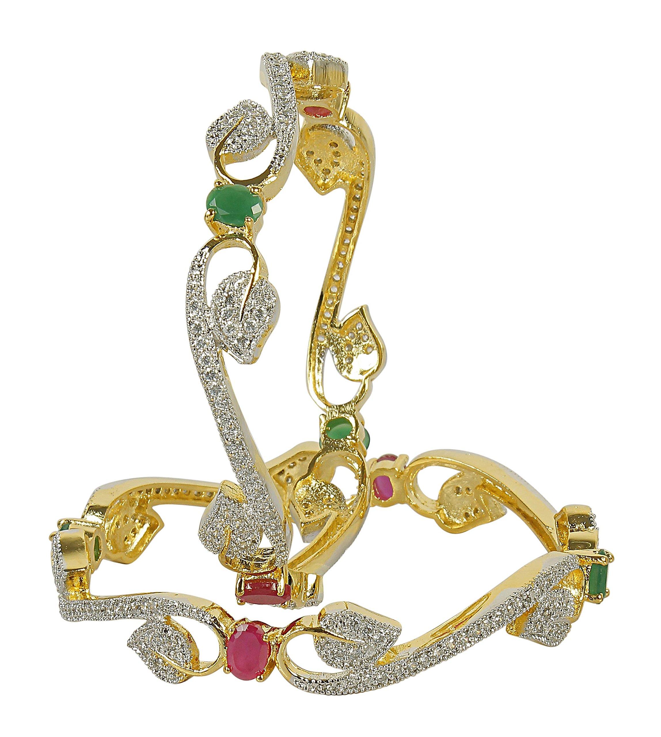 MUCHMORE Unique Style Gold Tone Diamond Swarovski Elements Indian Bangles Traditional Jewelry (2.4)