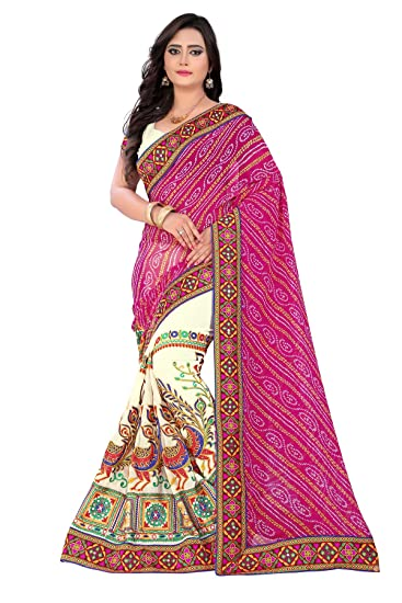 Riva Enterprise women s bandhani pallu pattern pink and off white color  saree (Riva 10)  Amazon.in  Clothing   Accessories da285bf136