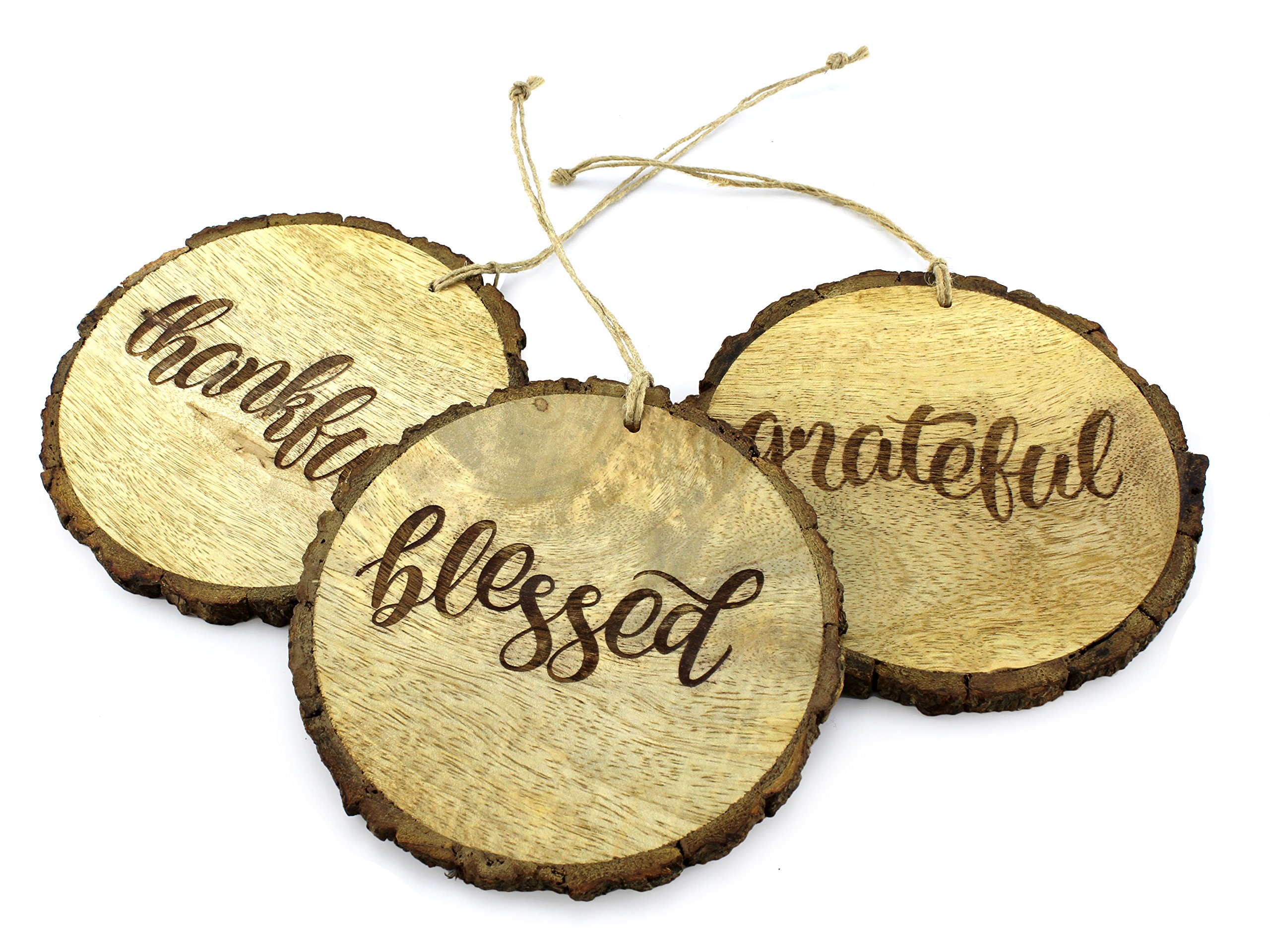 SAM + OLLIE Furnishings Rustic Christmas Ornaments with Thankful,Grateful &Blessed (Set of 3) 4 inch; Round Wooden Farmhouse Decor Country Style Holiday Decorations