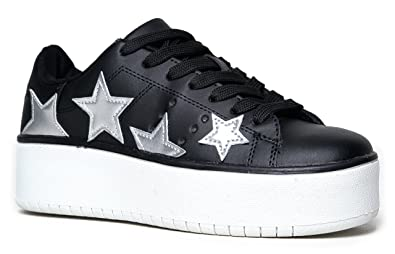2039f9d52d Hero Platform Lace Up Sneaker, Black Silver Star, 5.5 B(M) US. Roll over  image to zoom in. J. Adams