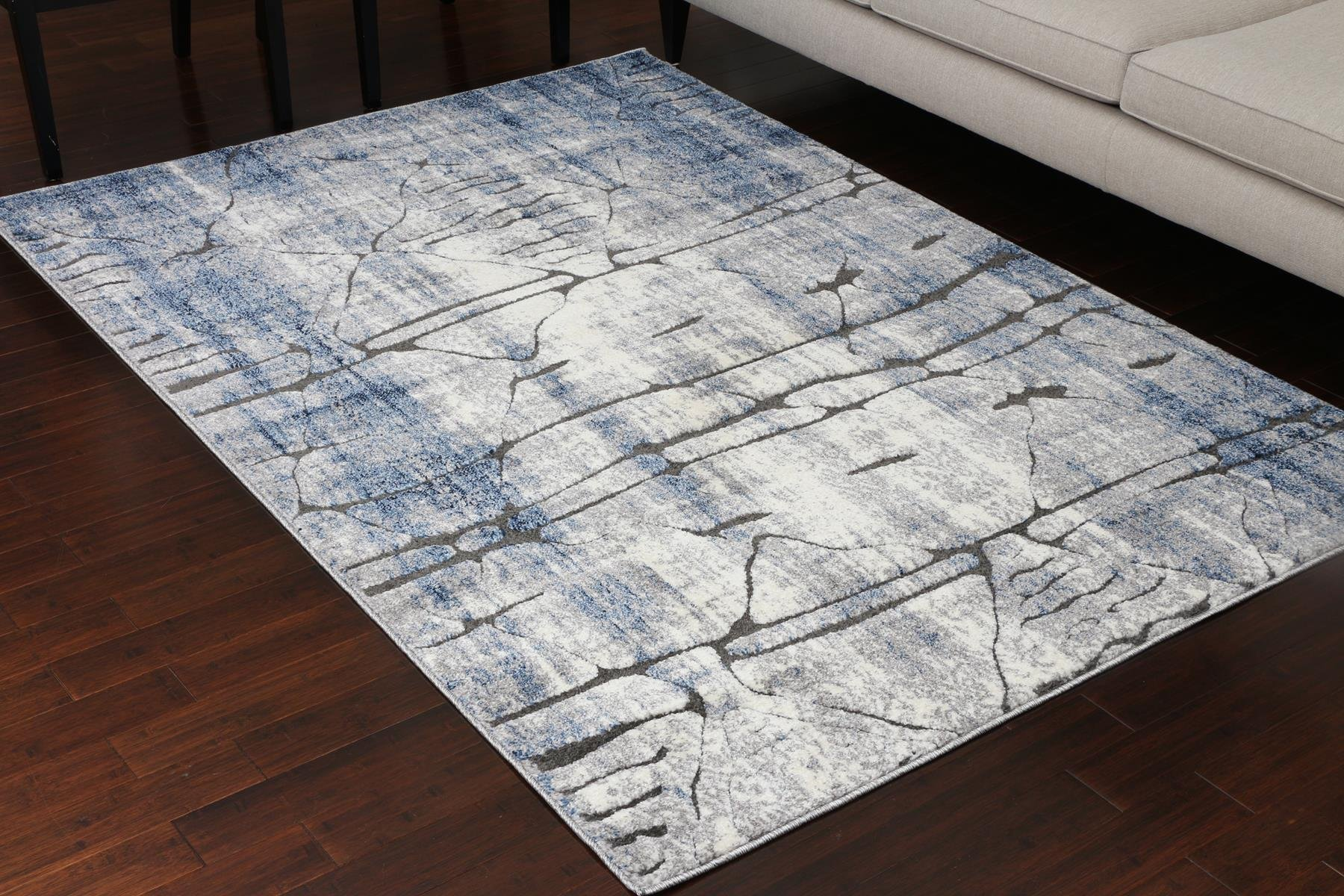 Miami Textured 3-D Carved Double Point High Density Thick Collection Oriental Carpet Area Rug Rugs Silver Grey Blue 5070 Anthracite 2x3 2'2x2'7