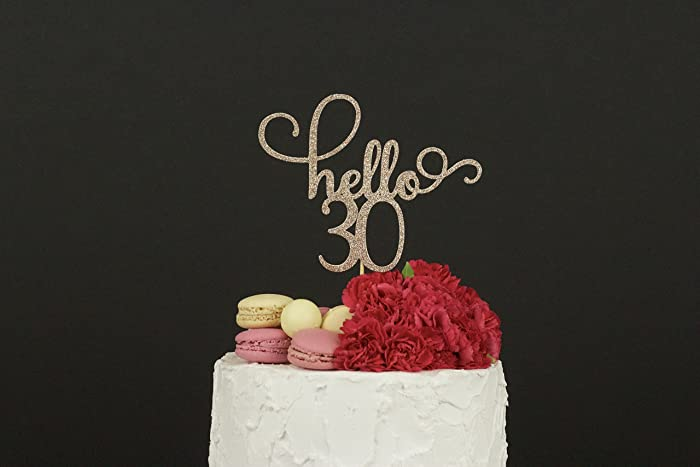 30th Birthday Cake Topper Dirty Thirty Hello 30 Decorations Glitter Happy