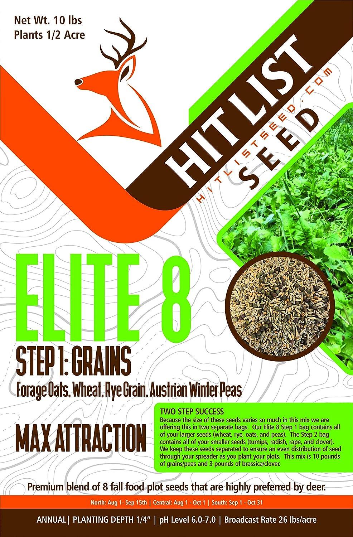 Hit List Seed Elite 8 Fall Deer Food Plot Blend-Turnip, Radish, Rape, Clover, Wheat, Rye, Oats, Peas