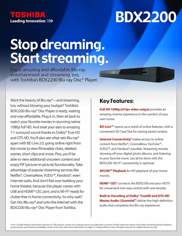Toshiba BDX2150 Wi-Fi Ready Blu-ray Player Black