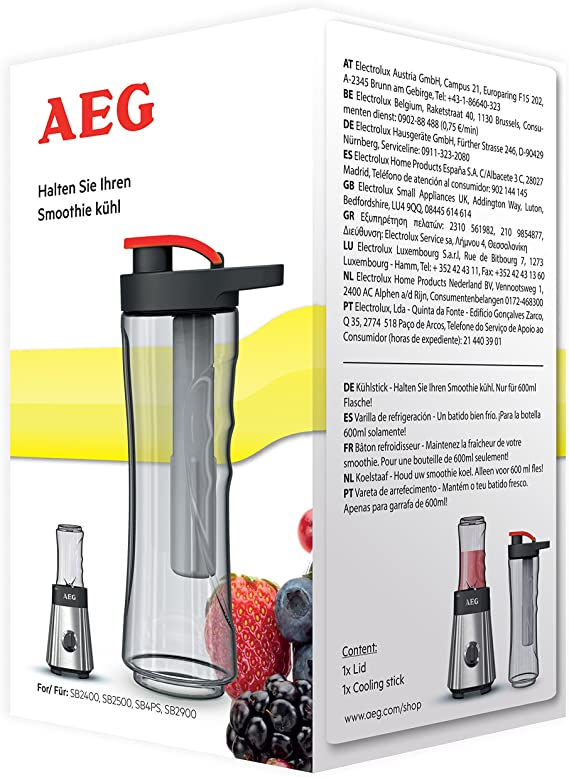 AEG, ASBS1 nevera stick y tapa para mini batidora (bebidas, batidos y alimentos rápido y fácil de mantener frío, sin BPA, fácil de usar, apto para AEG SB2400, SB2500, SB4PS y SB2900):