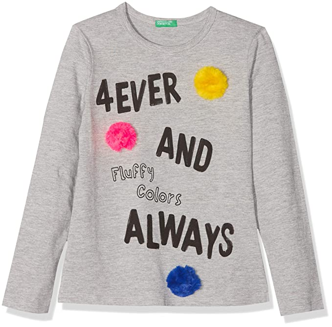 United Colors of Benetton T-Shirt L/s, Camiseta Niñas, Gris (