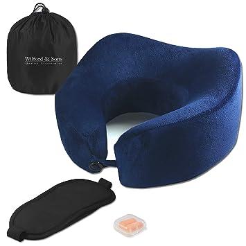 Set de almohada de viaje – Antifaz para dormir, tapones para oído + bolsa para viajar, avión | Espuma viscoelástica, cuello levantado | Cómoda, ...