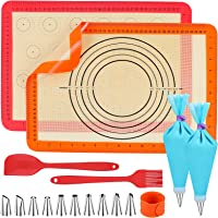 Homgaty Silikonowa mata do pieczenia, 2 sztuki, mata silikonowa, podkładka do pieczenia, mata do makaroników z 2…