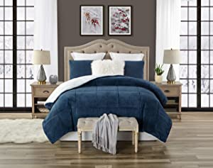 Swift Home Premium Ultra-Soft Faux Fur 3-Piece Sherpa Reversible Comforter and Sham Set - King/Cal King, Navy