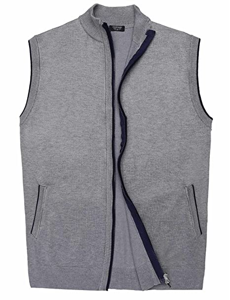147f9dafec96 COOFANDY Men s Slim Knitted Cardigan Full Zip Up Sweater Vest with Pocket  Grey