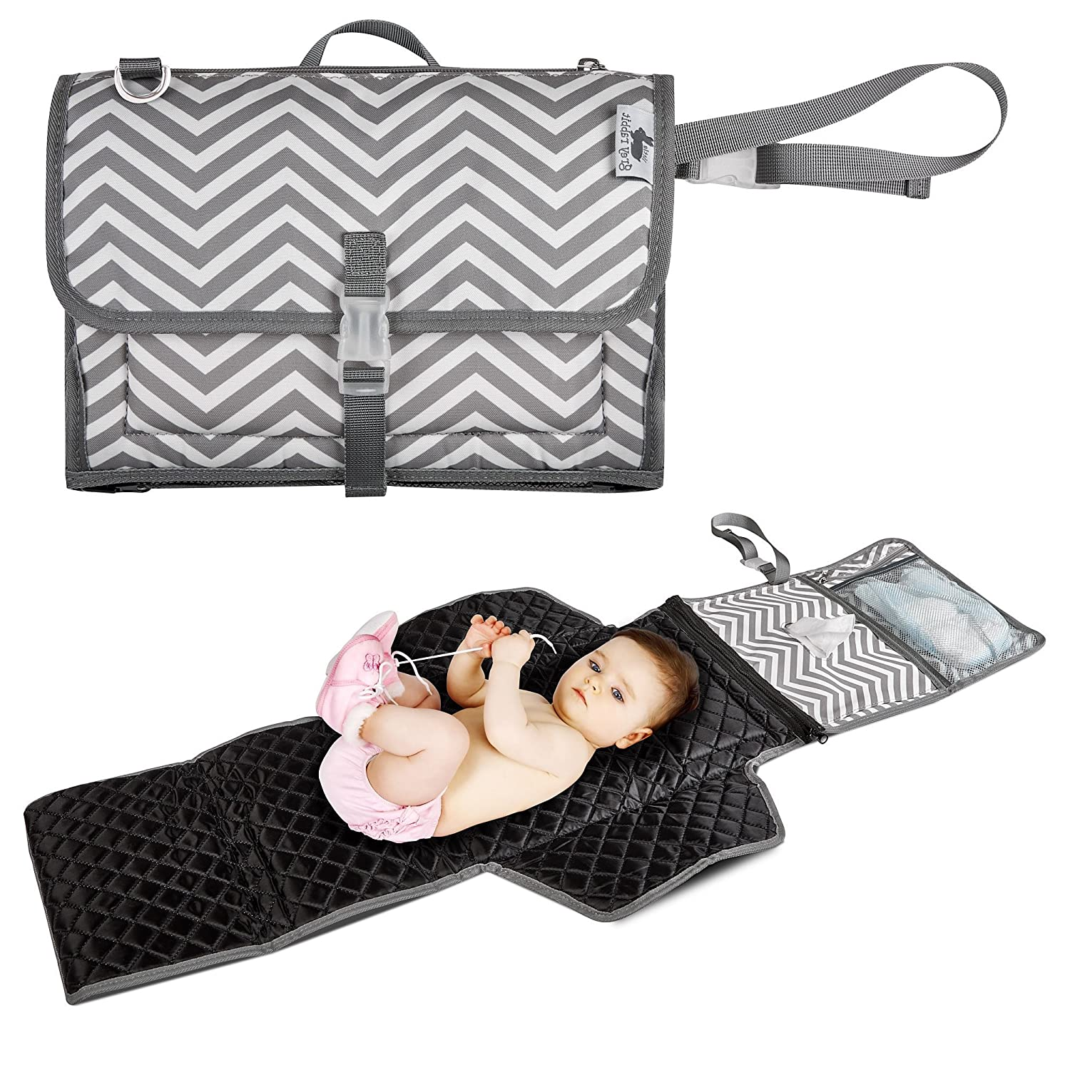 Quick Fold Diaper Changing Pad by Little Grey Rabbit | Baby Nursery or On The Go | Perfect Diaper Bag Accessory | (Simple, Grey Chevron)
