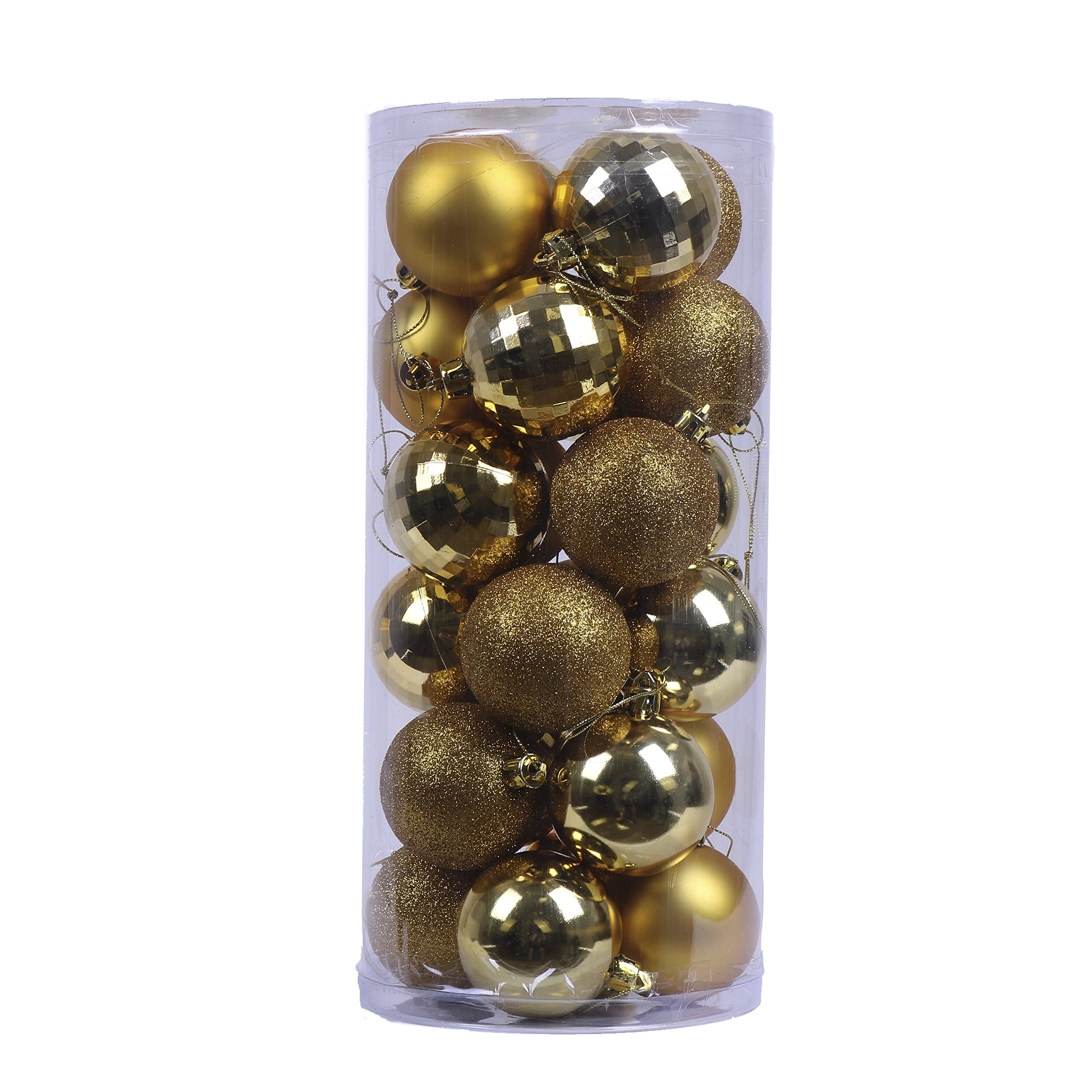 V&M VALERY MADELYN 24ct Christmas Ball Ornaments Shatterproof Christmas Tree Decorative Balls For Holiday, 2.36inch/6CM Hanging Ornament With String Pre-Tied (Essential, Gold)