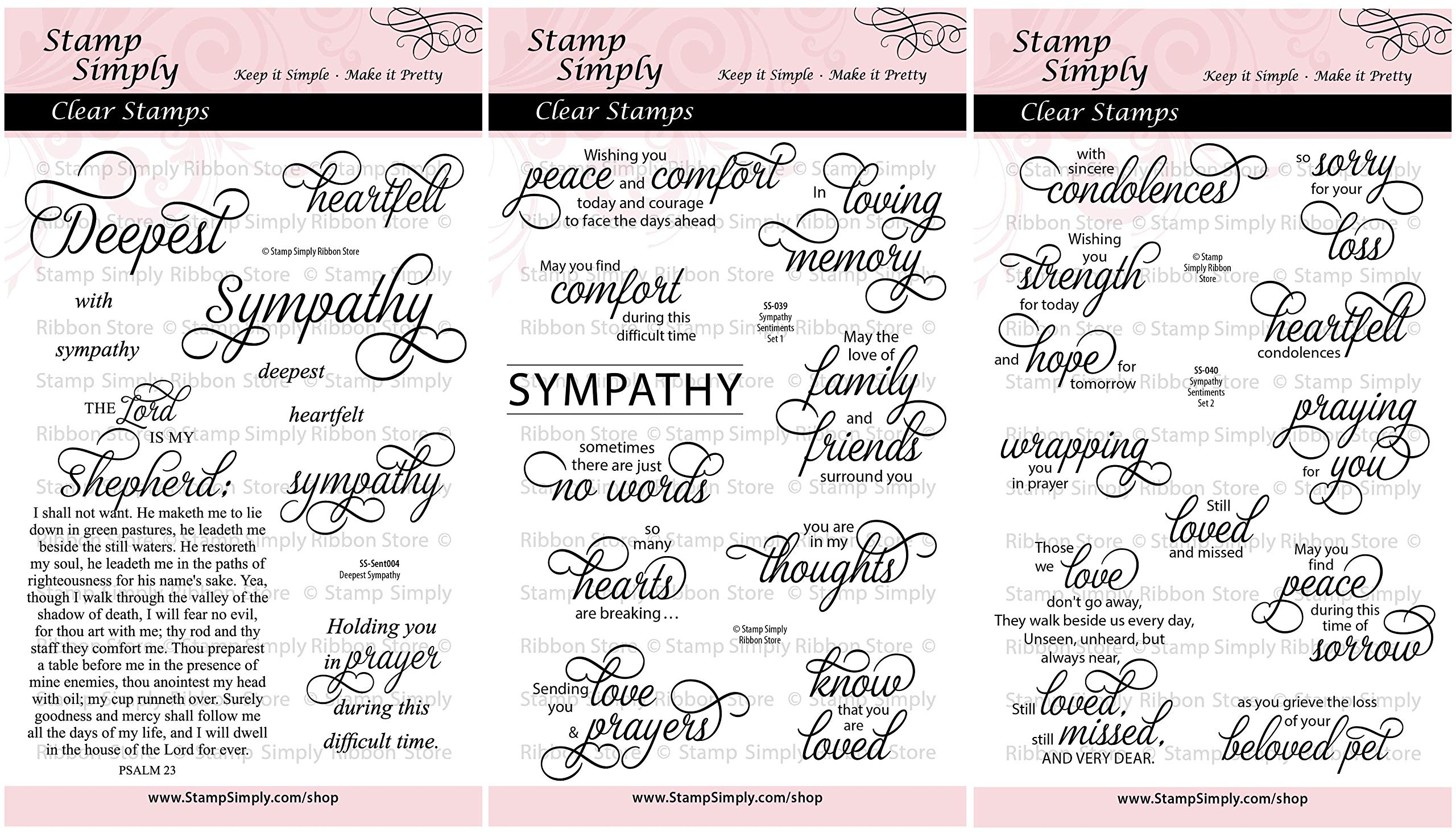 Stamp Simply Clear Stamps Sympathy Sentiments Trio Condolences and Loss (3-Pack) 4x6 Inch Sheets - 30 Pieces