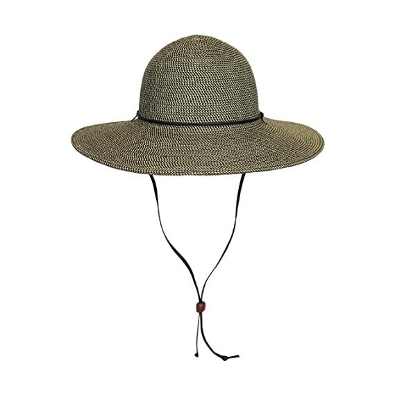 f3a36cad3 Brown Packable Cotton Fabric Sun Hat, Wide Circle Brim w/ Chin Strap ...