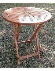 forestfox Outdoor Folding Drinks Table. Hard Wood. 75 Height 60cm Diameter. Patio Garden.