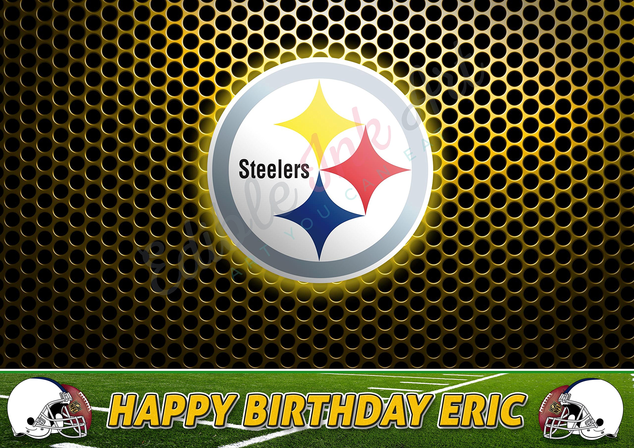 Pittsburgh Steelers NFL Edible Cake Image Topper Personalized Icing Sugar Paper A4 Sheet Edible Frosting Photo Cake 1/4 ~ Best Quality Edible Image for cake