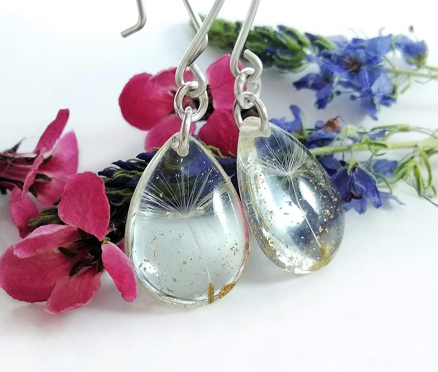 Gift Box Natural Jewelry REAL DANDELION SEEDS Earrings Silver Plated