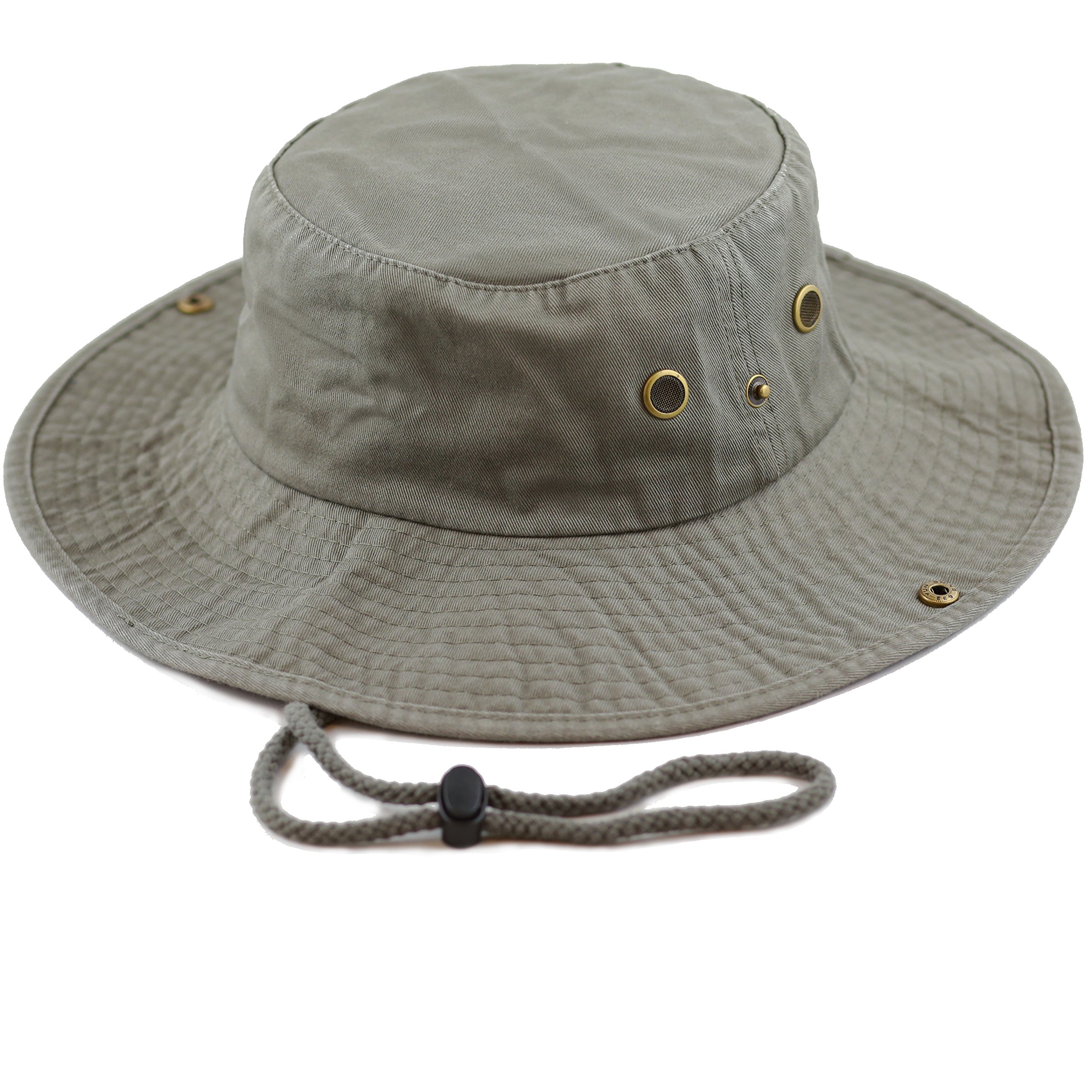 THE HAT DEPOT 300N1510 Wide Brim Foldable Double-Sided Outdoor Boonie Bucket Hat (L/XL, Olive)