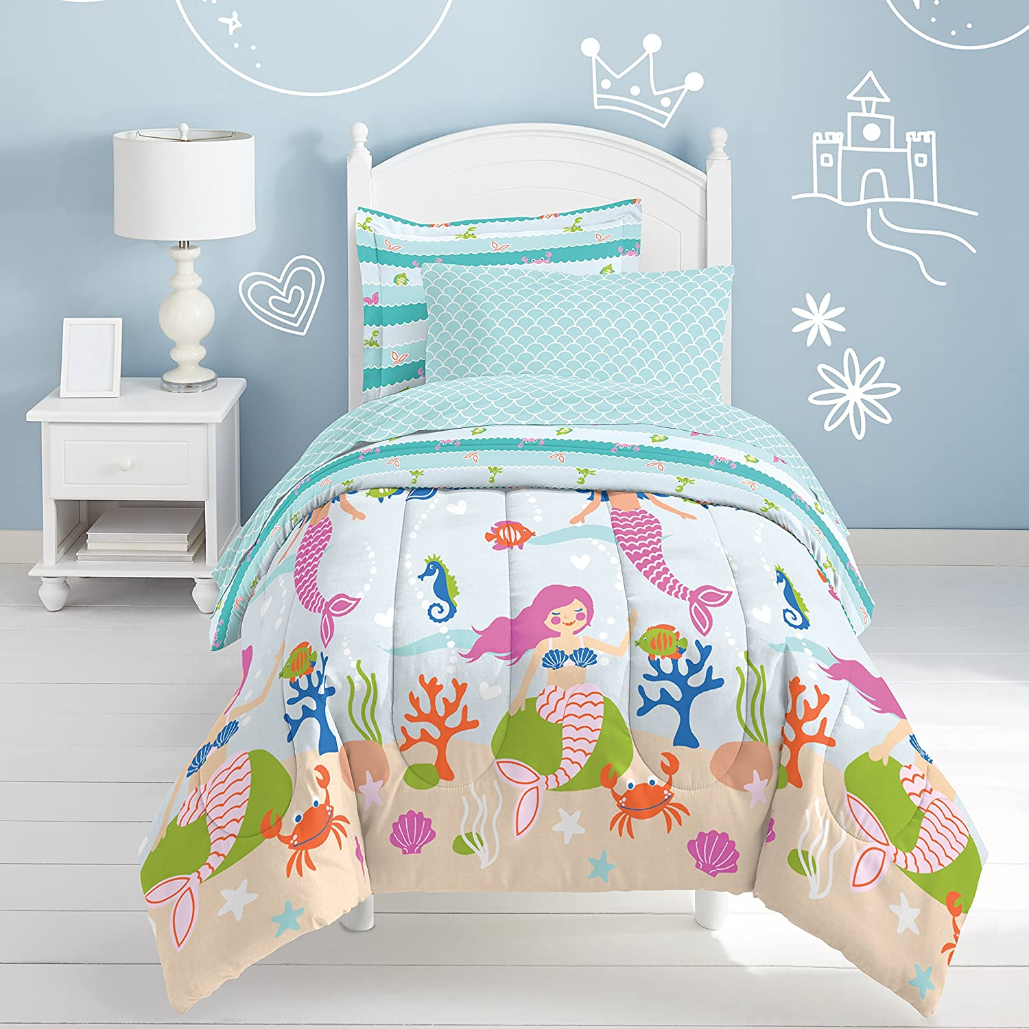 7 Piece Kids Girls Teal Blue Pink Mermaid Comforter Full Set, Swimming Mer Maid Bedding Under Water Sea Life Colorful Coral Crab Seashells Seahorse Trellis Pattern Ocean Themed, Microfiber Polyester
