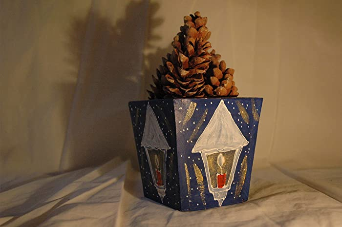 Sale 20 Off Wood Hand Painted Christmas Flower Pot Merry