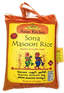 Asian Kitchen Sona Masoori Aged Rice 20lbs Pound Bag (9.08kg) Short Grain Rice ~ All Natural | Gluten Free | Vegan | Indian Origin | Export Quality