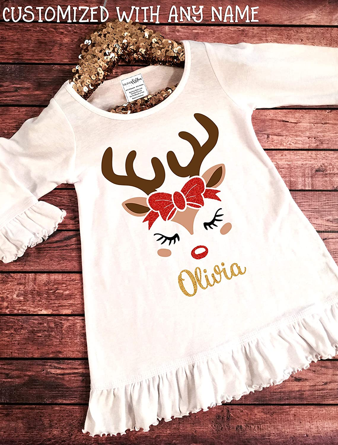 Baby/'s 1st Christmas ~ Gift ~ Reindeer 2019 Embroidered Personalised Baby Bib