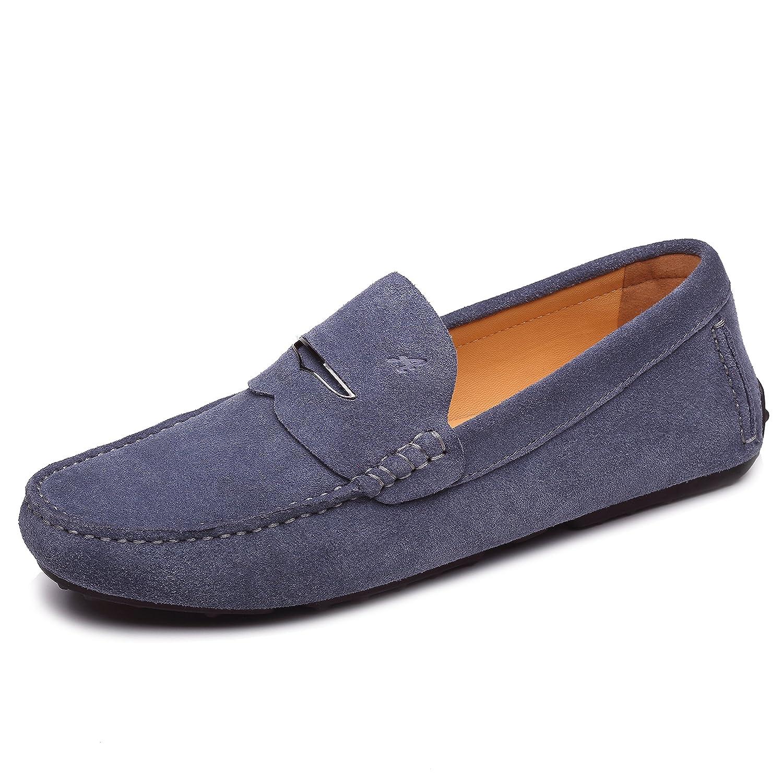Shenduo Zapatos Hombre Casuales - Mocasines de Cuero Zapatos Planos Loafers Verano Mocasines para Hombre 41 EU|Gris Oscuro