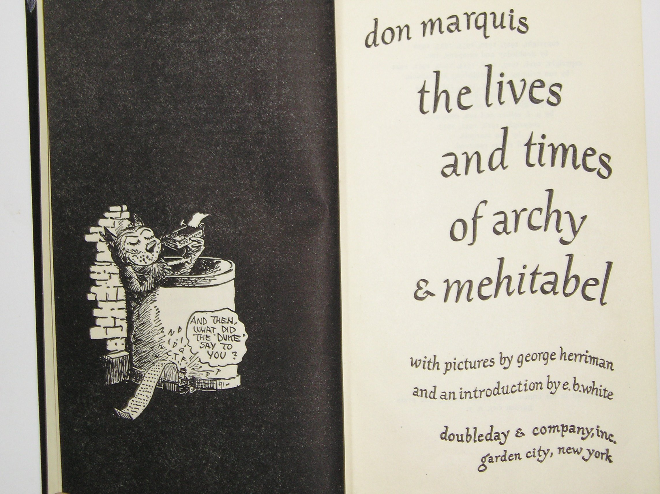 The Life And Times Of Archy And Mehitabel: Don Marquis, George Herriman:  Amazon: Books