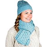 Gorro de invierno para mujer, 100% lana merina, cálido y acogedor