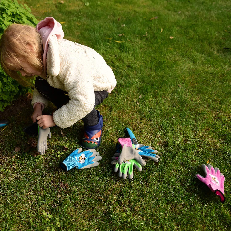 Garten- und Arbeitshandschuhe mit Schaumlatex//Gummibeschichtung Vgo 3 Paare Kid-XXS, Violett /& Gr/ün /& Blau mit Bieneprint, KID-RB6013 Kinder 5-7 J.A