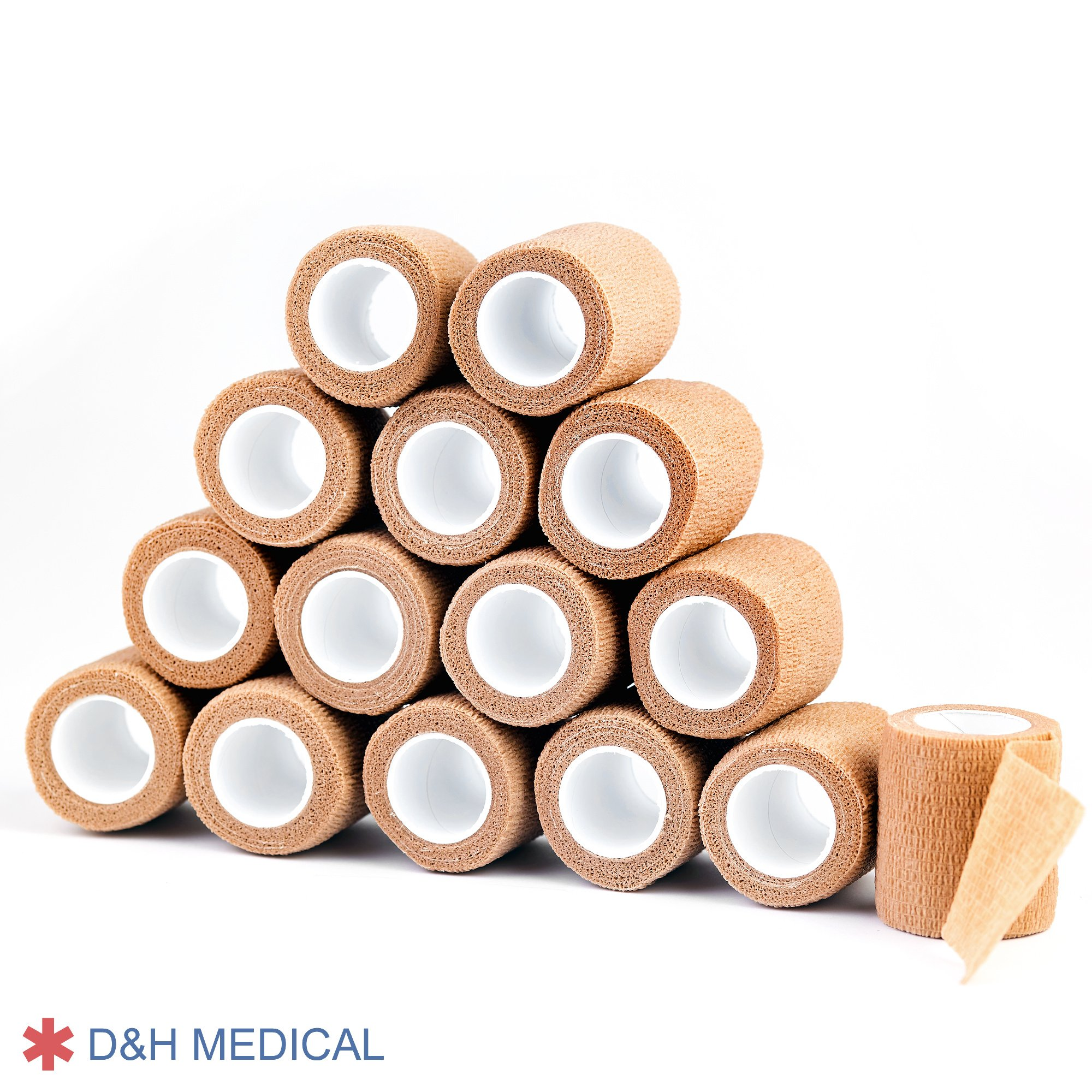 15 Bulk Pack Self Adherent Cohesive Wrap Bandages 2 Inches X 5 Yards, Self Adhesive Rolls FDA Approved For Swelling Sprains And Soreness On Wrist And Ankle. First Aid Sports Vet Tape Medical Supplies. by D and H Medical (Image #9)