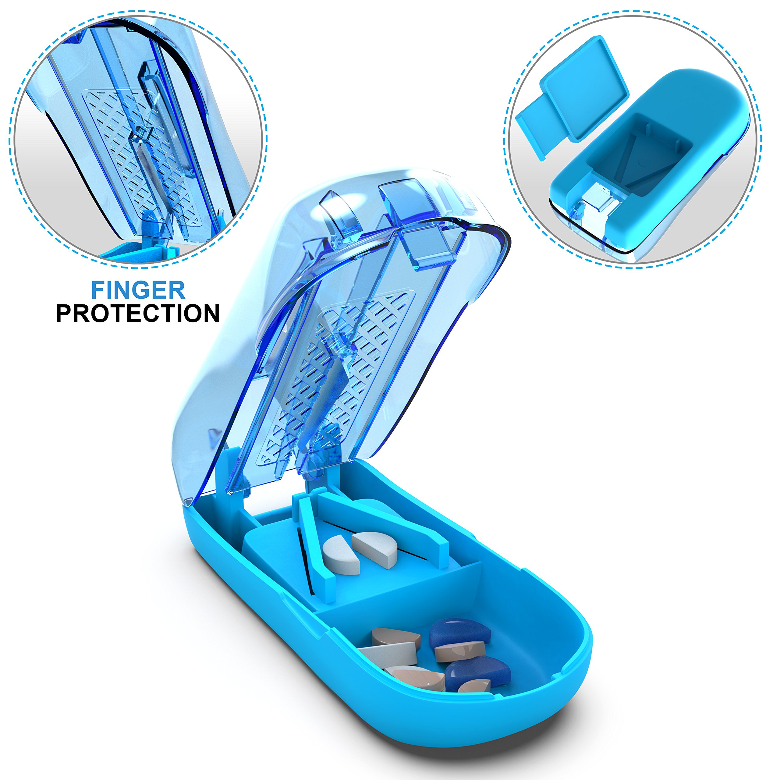 Ergonomic Pill Cutter Splitter with Finger Protection - Cutting Medication Tablets in Half with Small Pill Box Container - Vitamins and Supplement Slicer Chopper Divider …