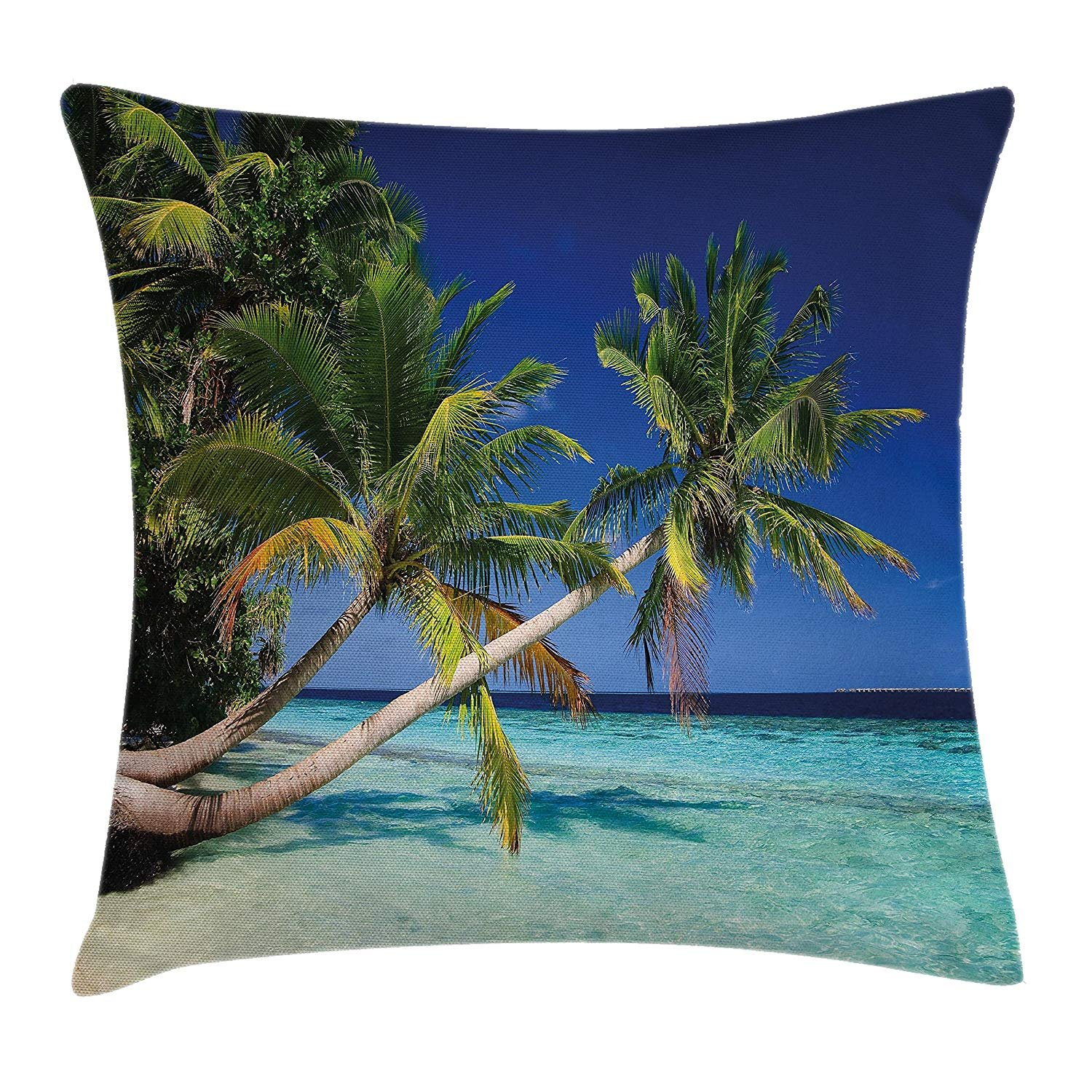 Tropical Throw Pillow Cushion Cover, Exotic Maldives Beach with Palms Paradise Coast Vacation Scenery, Decorative Square Accent Pillow Case, 20 X 20 Inches, Blue Turquoise Fern Green Trsdshorts