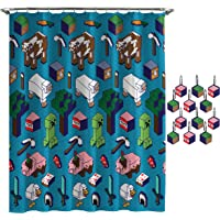 Jay Franco Minecraft Genda Iso Animals Shower Curtain & 12-Piece Hook Set & Easy Use - Kids Bath Features Creeper - (Official Minecraft Product)