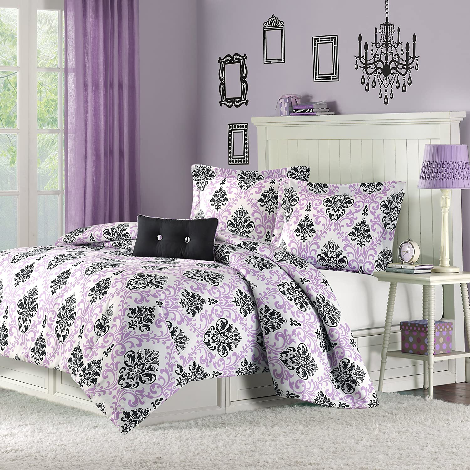 Mizone Katelyn 4 Piece Comforter Set, Full/Queen, Purple