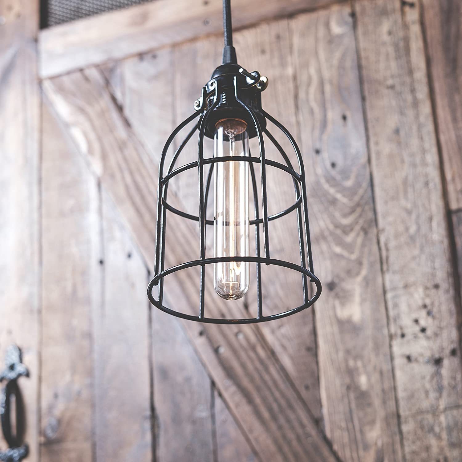 Industrial Vintage Style Metal Wire Curved Cage Pendant Ceiling Lamp Lamps Plus Lighting Decorative Electrical Wiring Light Fixture Set With 15 Toggle Switch Black Plug In Cord And Edison Tube Bulb