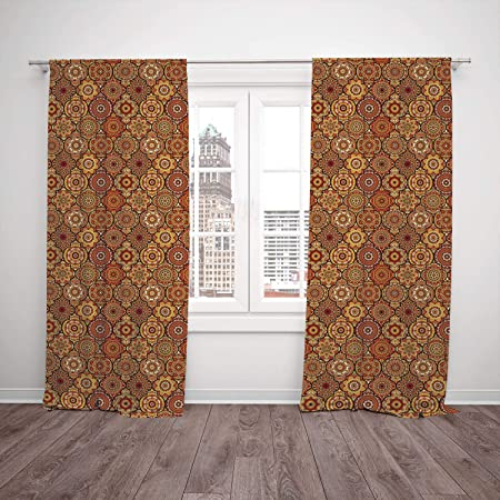 2 panel set window drapes kitchen curtains moroccan vintage hand rh amazon co uk