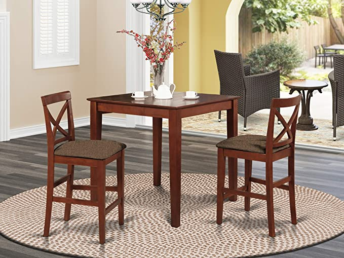 3 Pc Counter Height Dining Set Pub Table And 2 Stools Table Chair Sets Amazon Com