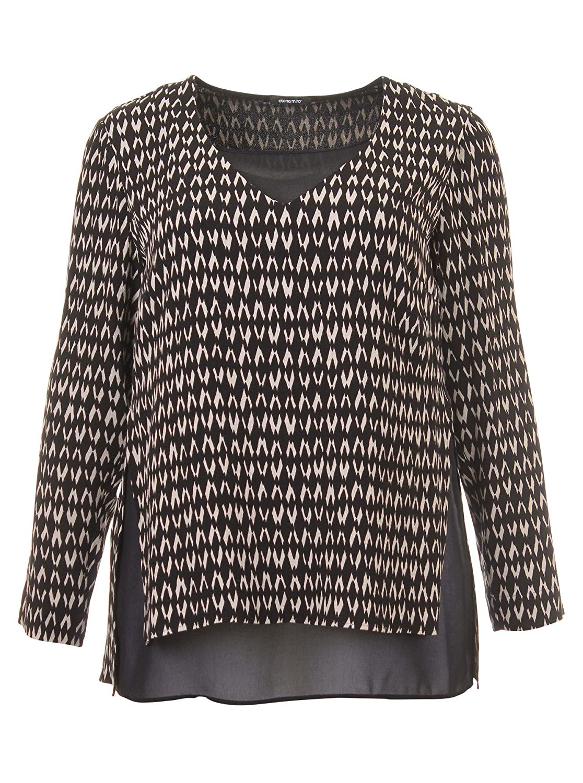 Bluse im Lagen-Look mit Muster in schwarz/weiß in Übergrößen (44, 46, 48, 50, 52) von Elena Miro