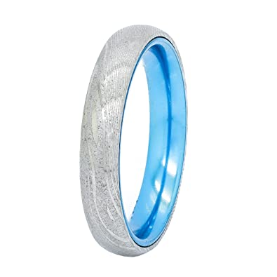 gane mokume wavy edges band products with titanium blue ring wedding rings