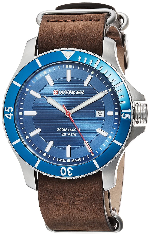 WEGNER Unisex-Armbanduhr 01.0643.121 WENGER SEAFORCE Analog Quarz Leder 01.0643.121 WENGER SEAFORCE
