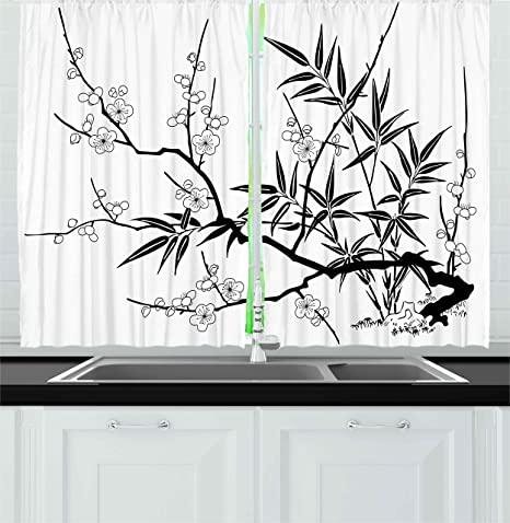 Ambesonne Modern Kitchen Curtains Japanese Cherry Blossoms Tree Branches With Flowers Leaves Image Print Window Drapes 2 Panel Set For Kitchen Cafe