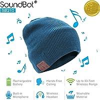 SoundBot¨ SB210 HD Stereo Bluetooth 4.1 Wireless Smart Beanie Headset Musical Knit Headphone Speaker Hat Speakerphone Cap,Built-in Mic (Blue)