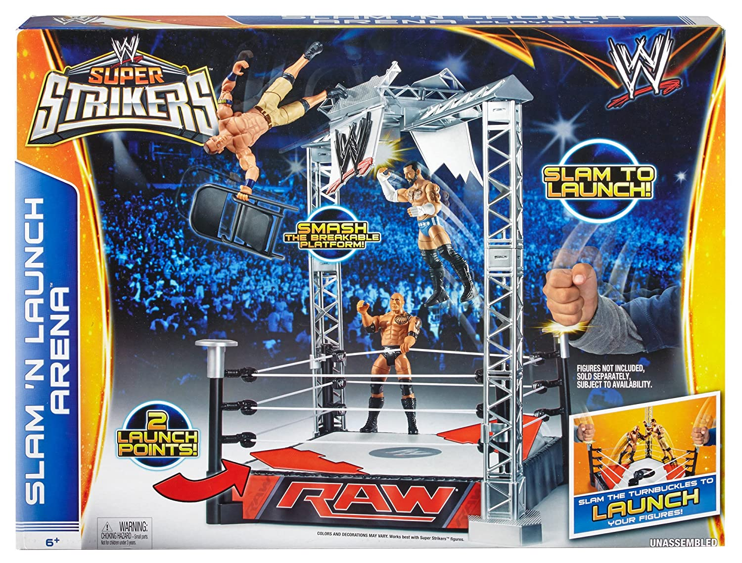 9eb158e20716 WWE Raw Toy Playset - Super Strikers Slam N Launch Arena - World Wrestling  Entertainment Figure Ring: Amazon.co.uk: Toys & Games