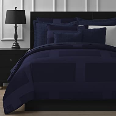 Comfy Bedding Frame Jacquard Microfiber Queen 5-piece Comforter Set, Navy Blue